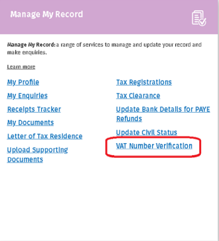Manage My Records panel in MyAccount